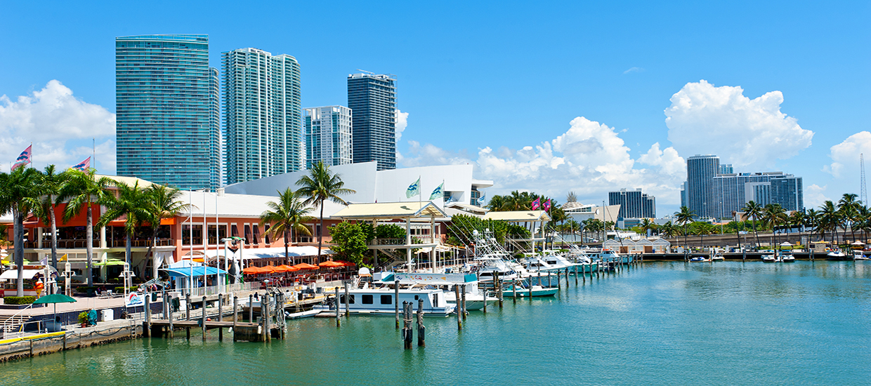 A stock photo of Bayside Marketplace in Miami, Florida.
