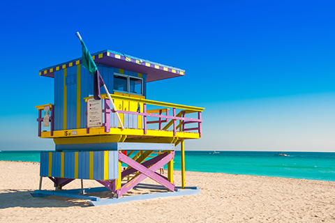 A stock photo of a lifeguard station in Miami Beach, Florida.