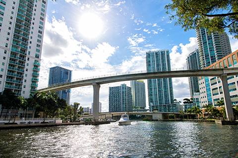 A stock photo of the Miami River in Miami, Florida.