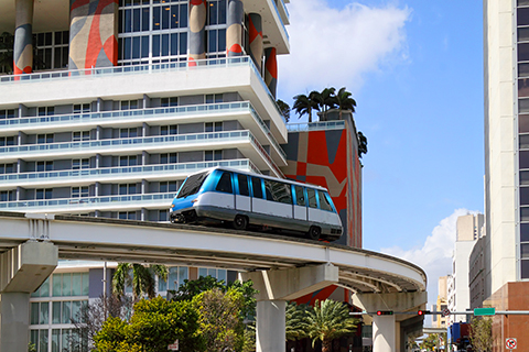 A stock photo of the metrorail in Miami, Florida.