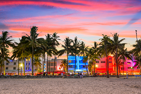 A stock photo of the cityscape on South Beach.