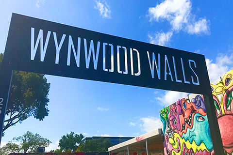 A stock photo of the entrance sign to Wynwood Walls in Miami, Florida.