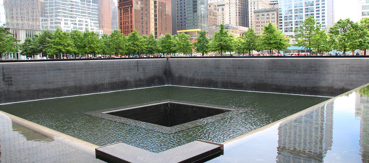 A stock photo of the 911 Memorial in New York, New York.