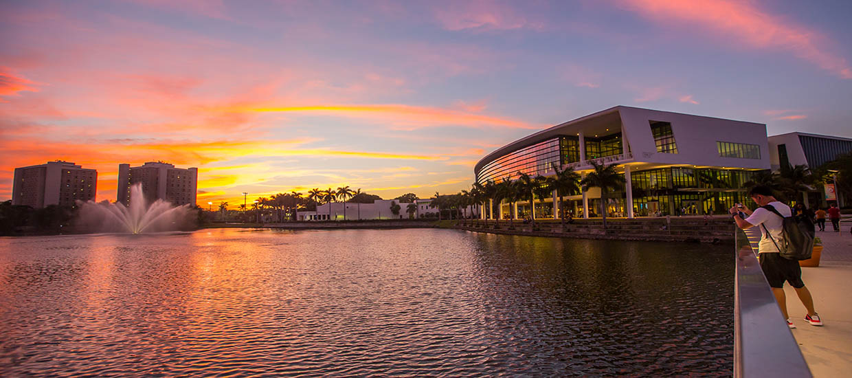 A photo of the Shalala Student Center during sunset at the University of Miami Coral Gables campus.