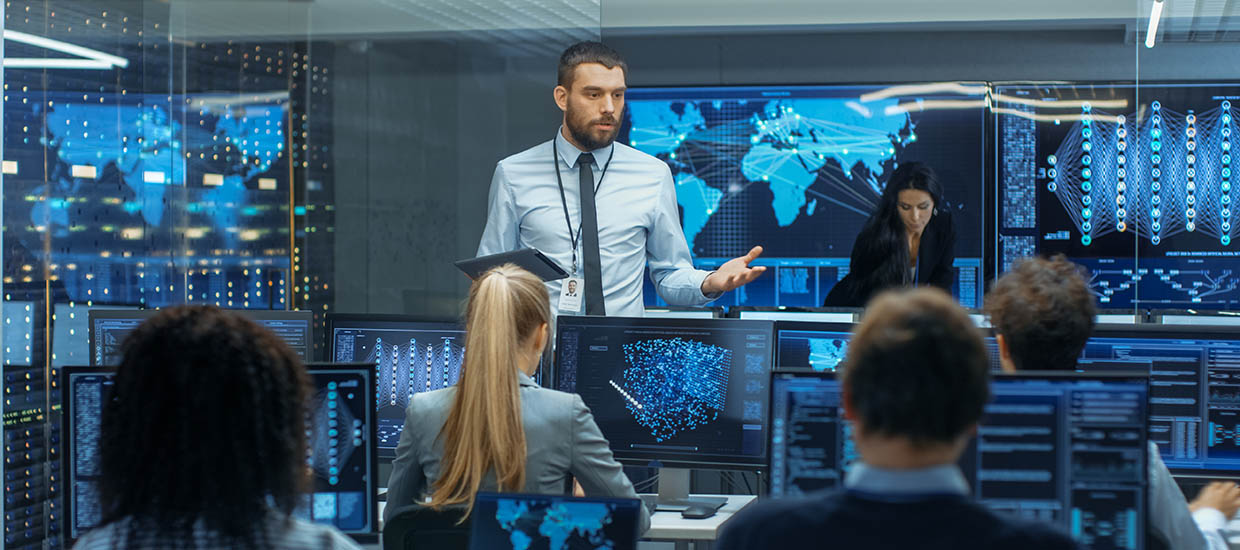 A stock photo of a security communications room.