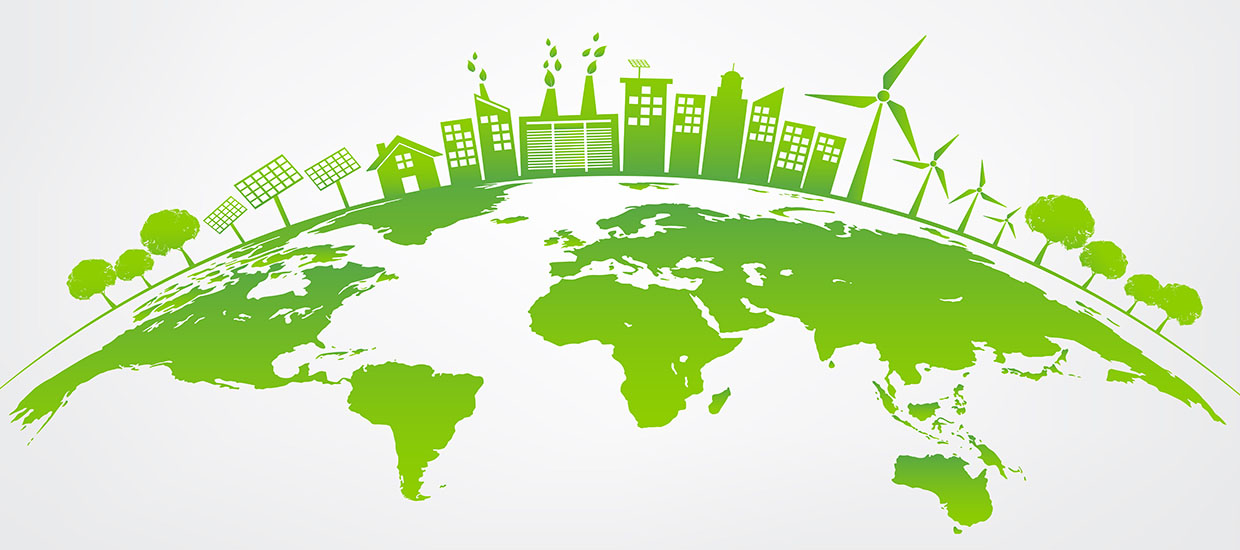 This is a graphic design from Shutterstock. Green energy icons over the globe.