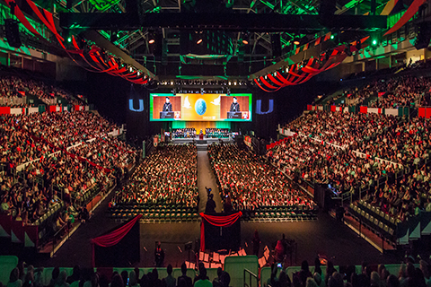 A photo from a University of Miami commencement ceremony.