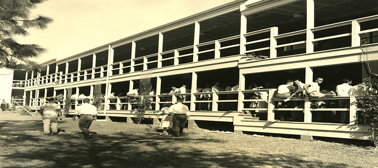 This is a picture of the University of Miami Campo Sano building which was originally constructed in 1947.