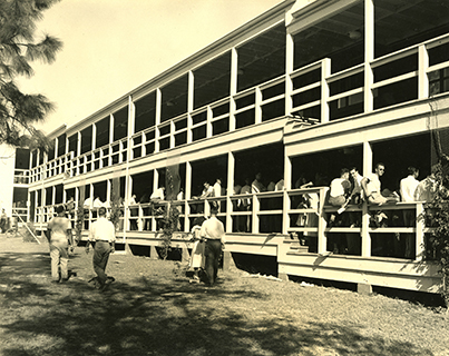 This is an old photo of the historic Campo Sano building which was constructed in 1947.