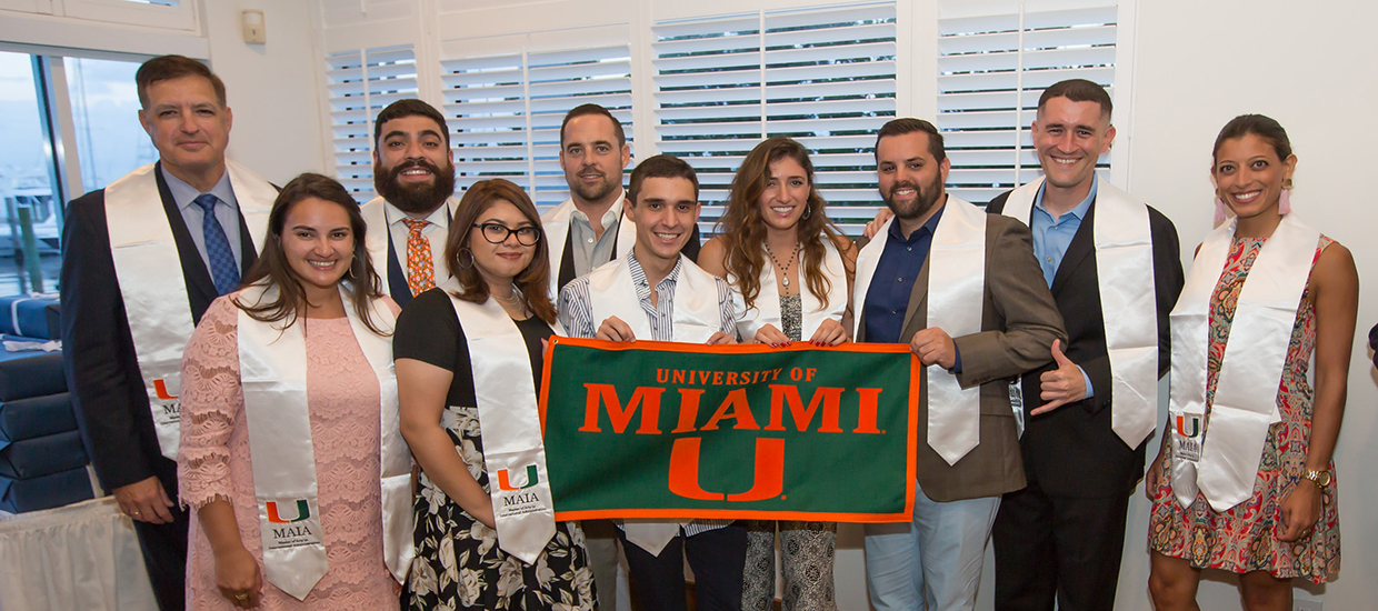 A photo of the 2018-2019 graduates of the Master of Arts in International Administration program at the University of Miami.