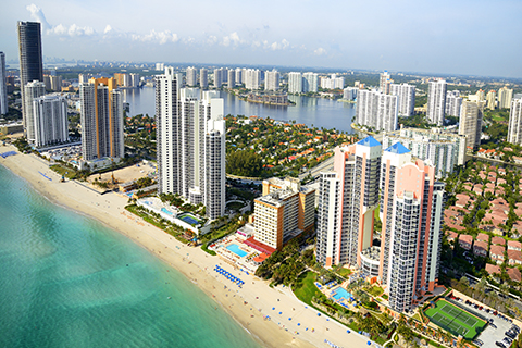 A stock photo of the Miami Beach skyline.
