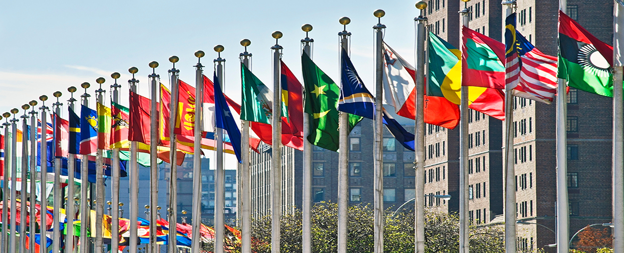 A stock photo of flags staffed outside of the United Nations building in New York, New York.
