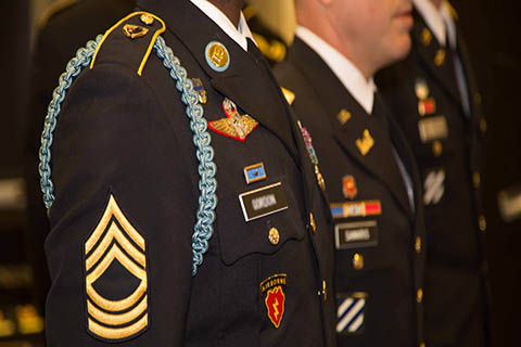 An up close photo of the army regalia worn by University of Miami military students at graduation.