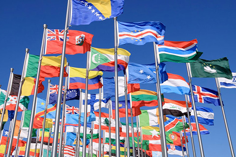 This is a stock photo. Different flags from different countries.
